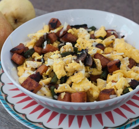 Egg and Sweet Potato Leftover Scramble