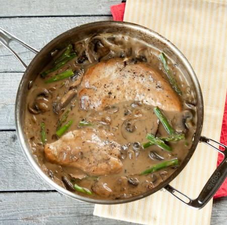 Healthy Pan Fried Chicken with Creamy Mushroom Asparagus Sauce