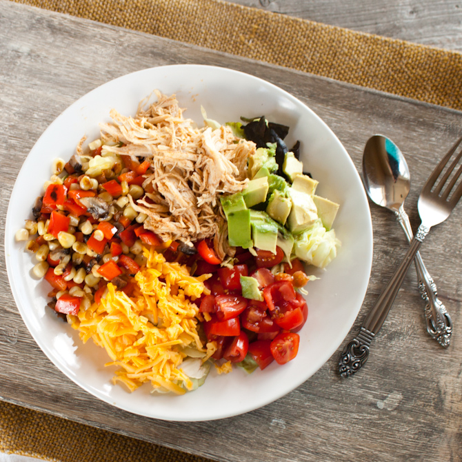Mexican Chicken Salad with Roasted Pepper Salsa | simplerootswellness.com