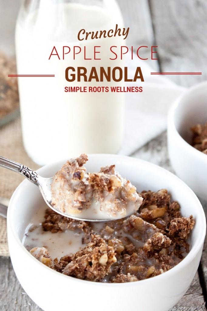 Crunchy Apple Spice Granola | simplerootswellness.com