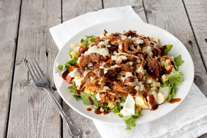 BBQ Chicken Salad with Crispy Onion Straws | simplerootswellness.com