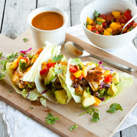 Blackened Fish Tacos with Peach Salsa