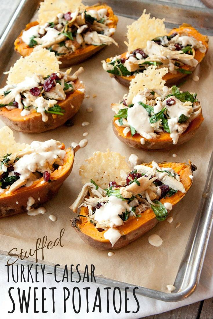 Turkey Caesar Stuffed Sweet Potatoes | simplerootswellness.com