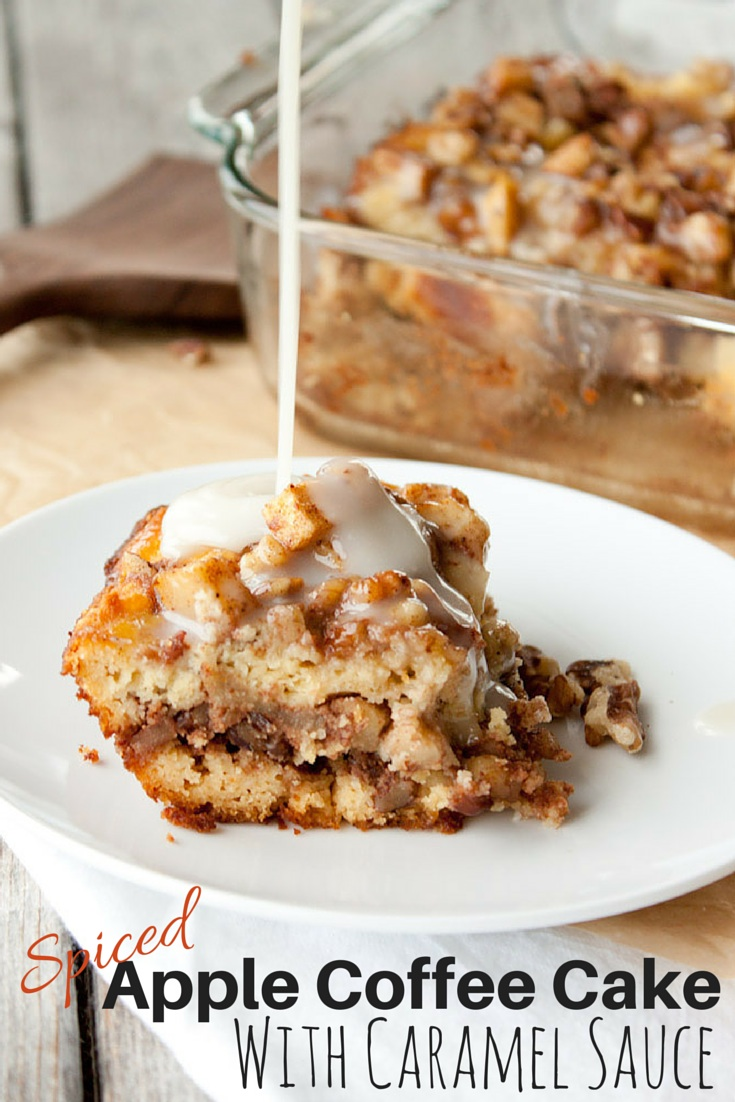 Grain Free Apple Coffee Cake with Caramel Sauce | simplerootswellness.com