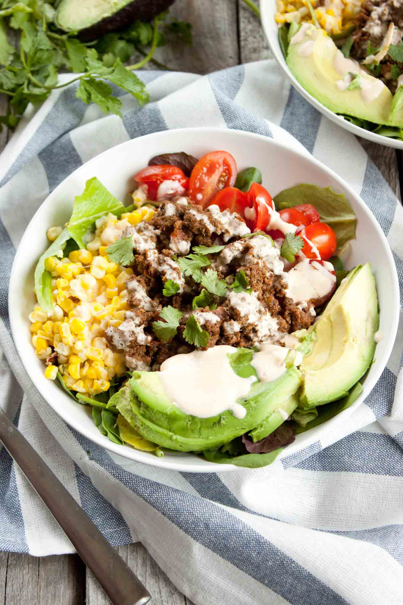 Tex Mex Salad with Sriracha Crema   simplerootswellness.com