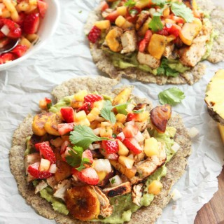 Baja Chicken Tostada with Strawberry Pineapple Salsa