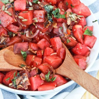 Savory Bacon and Balsamic Watermelon Salad