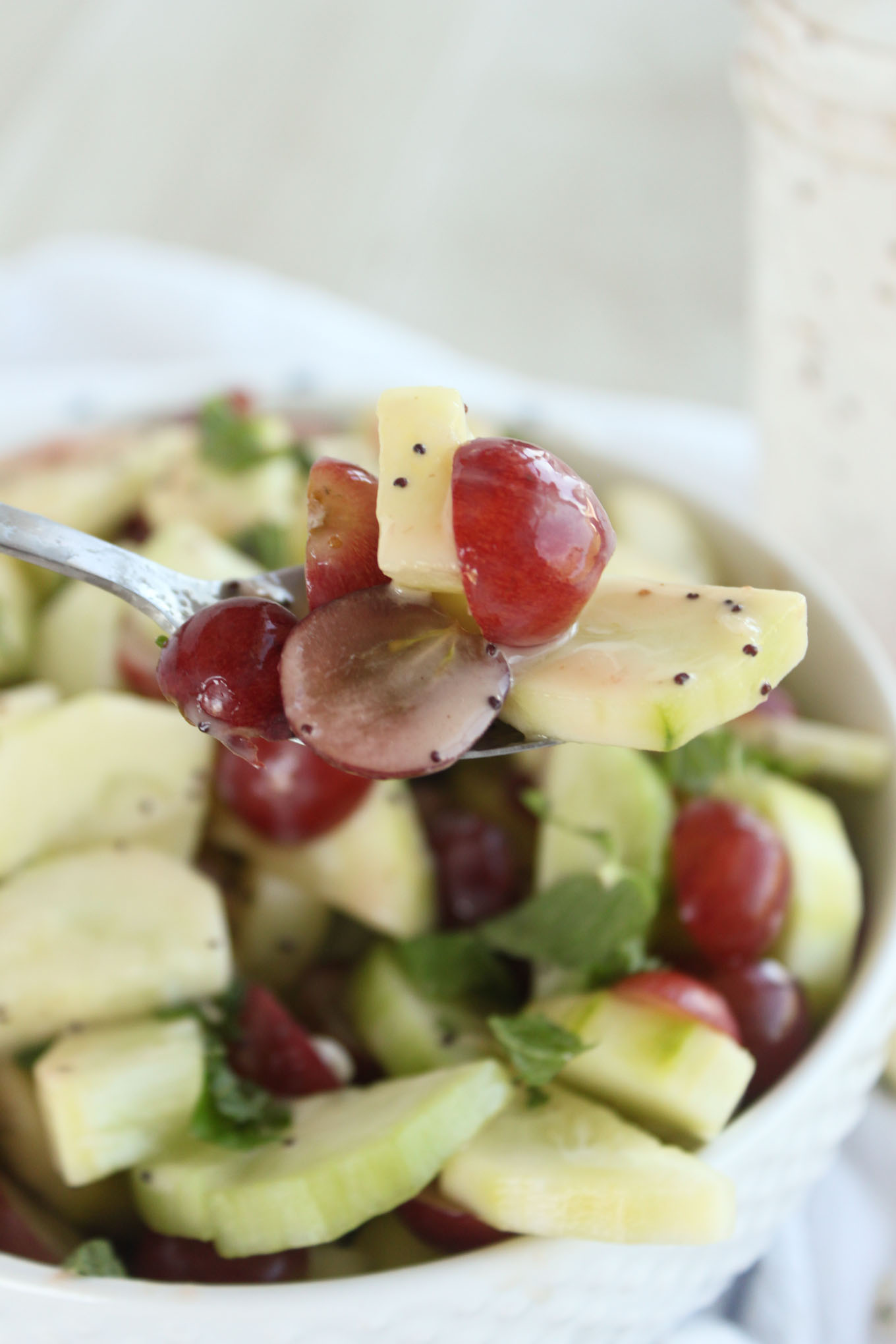 10 minute Cucumber Grape Salad with Poppyseed Dressing | simplerootswellness.com