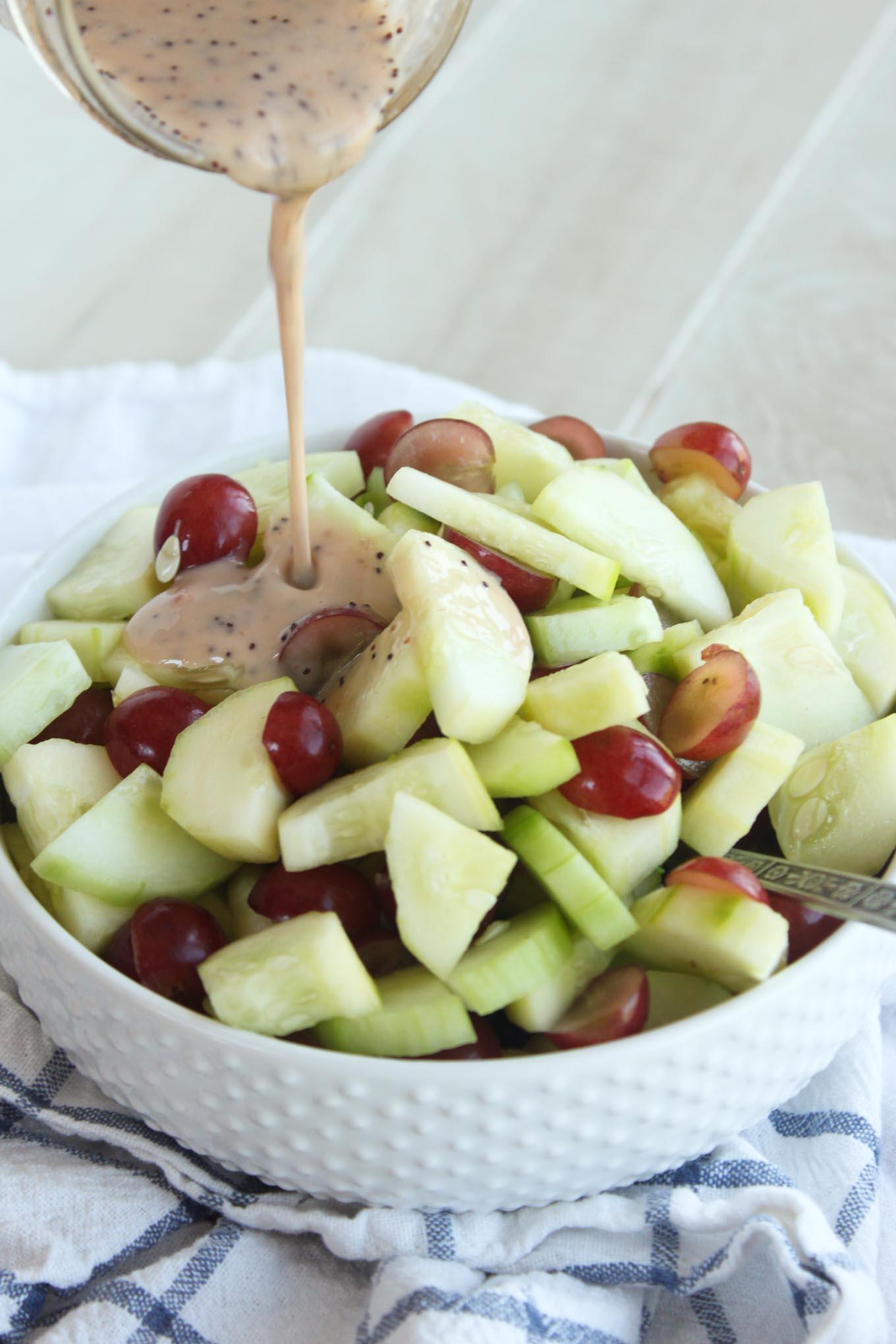 10 minute Cucumber Grape Salad with Poppyseed Dressing   simplerootswellness.com