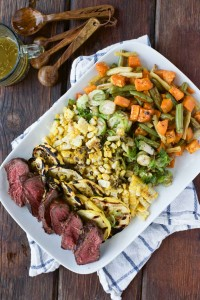 Grilled Veggie & Steak Salad with Herbed Butter Sauce - Simple Roots