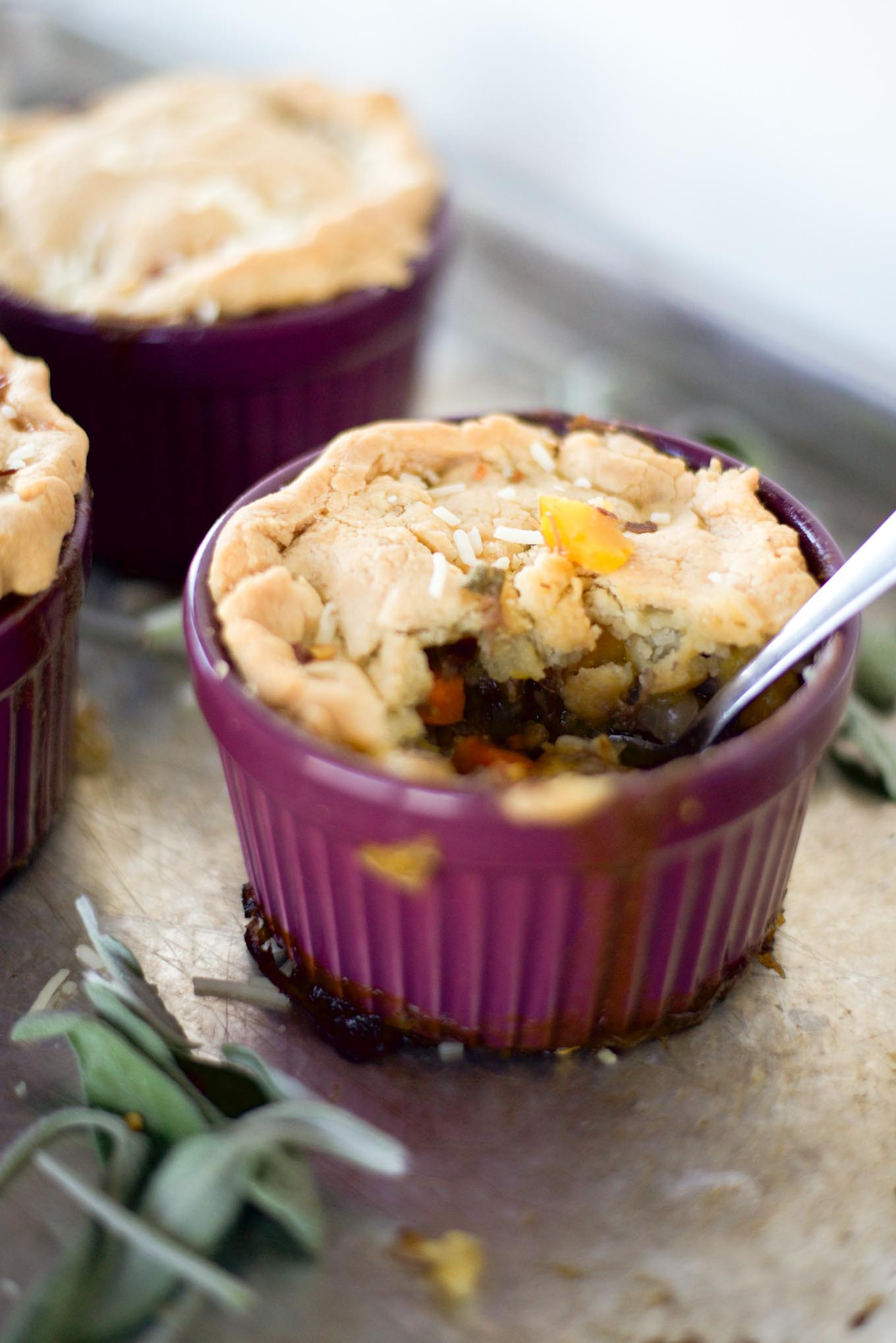 Traditional pot pie with half the calories.
