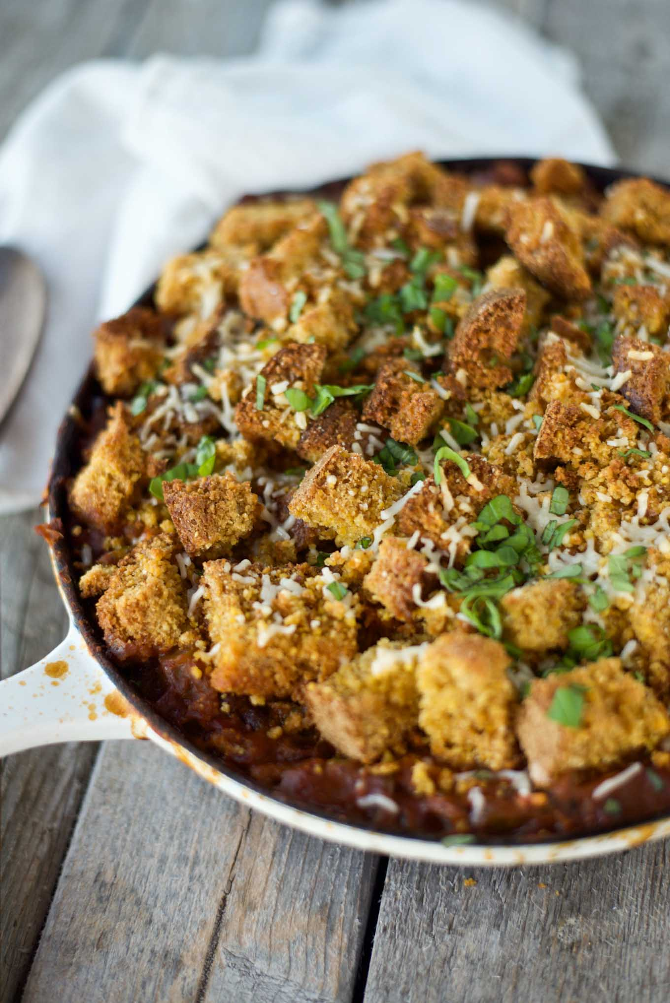 One pot 30 minute Pumpkin Chili Cornbread Casserole