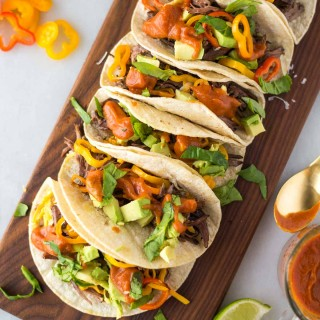 Slow Cooker Beef Fajita Tacos with Mango Sauce