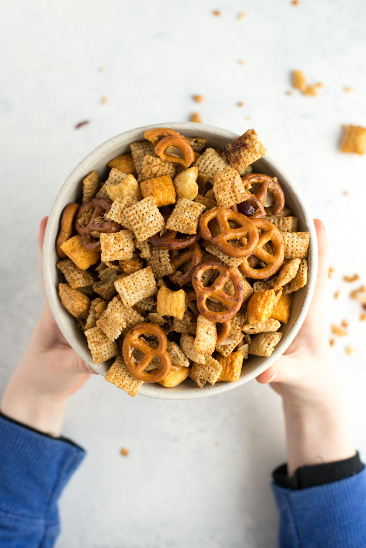A quick and healthy alternative to traditional sweet chex mix. This maple version has big flavor with over half as much sugar.