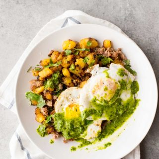 Easy Breakfast Hash with Plantains + Chimichurri