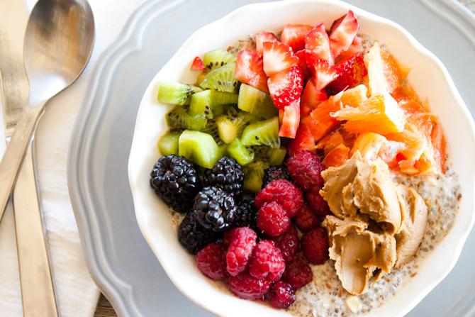 Sweet Breakfast Bowl with Chia Seed Porridge | simplerootswellness.com