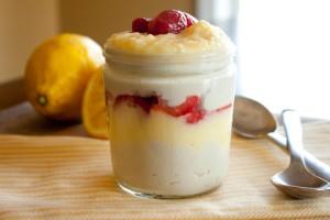 Strawberry Lemon Curd Coconut Milk Pudding