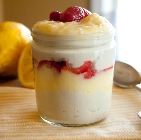 Strawberry Lemon Curd Coconut Milk Pudding