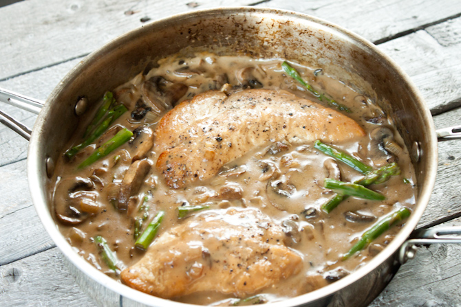 Healthy Pan Fried Chicken with Creamy Mushroom Asparagus Sauce | simplerootswellness.com