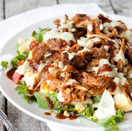 BBQ Chicken Salad with Crispy Onion Straws | simplerootswellness.com