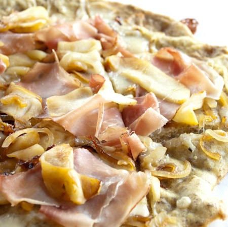 Prosciutto Apple and Caramelized Onion Flatbread