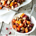 Sweet Potato Brussels Sprout Salad with Cranberry Sauce | simplerootswellness.com