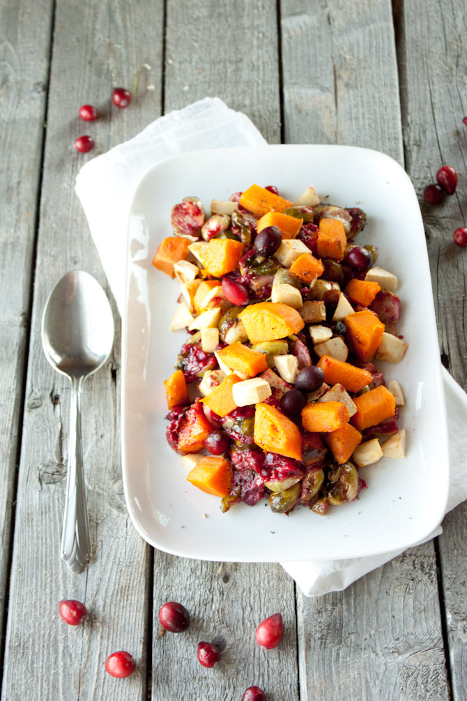 Sweet Potato, Brussels Sprout Salad with Cranberry Sauce | simplerootswellness.com