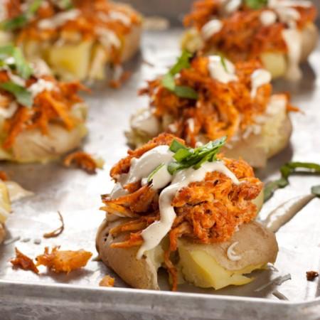 Buffalo Chicken Potato Smashers