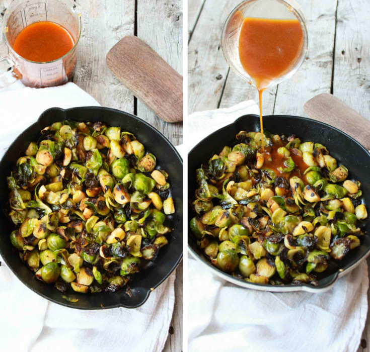 Sriracha Fried Brussels Sprouts | simplerootswellness.com