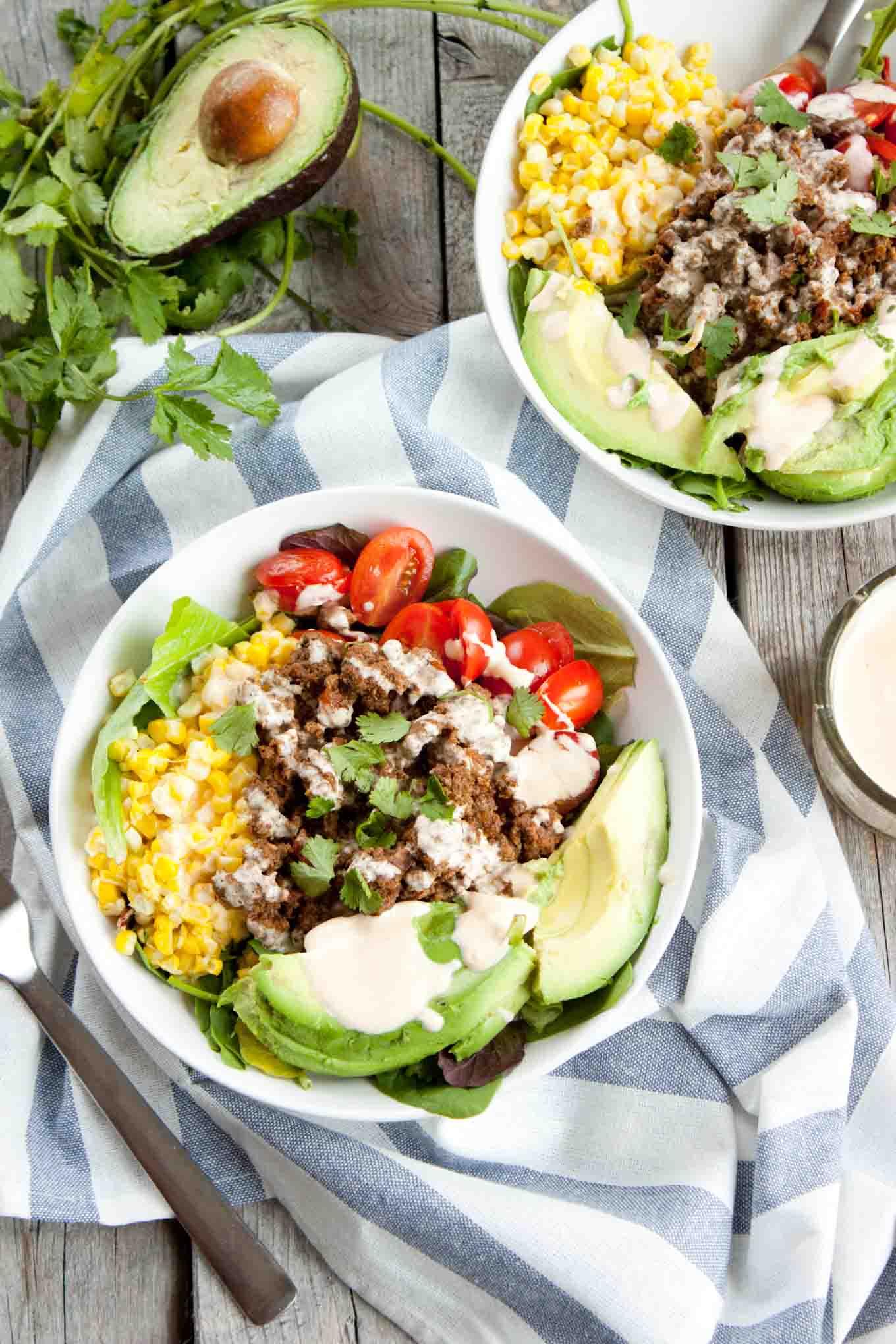 Tex Mex Salad with Sriracha Crema | simplerootswellness.com