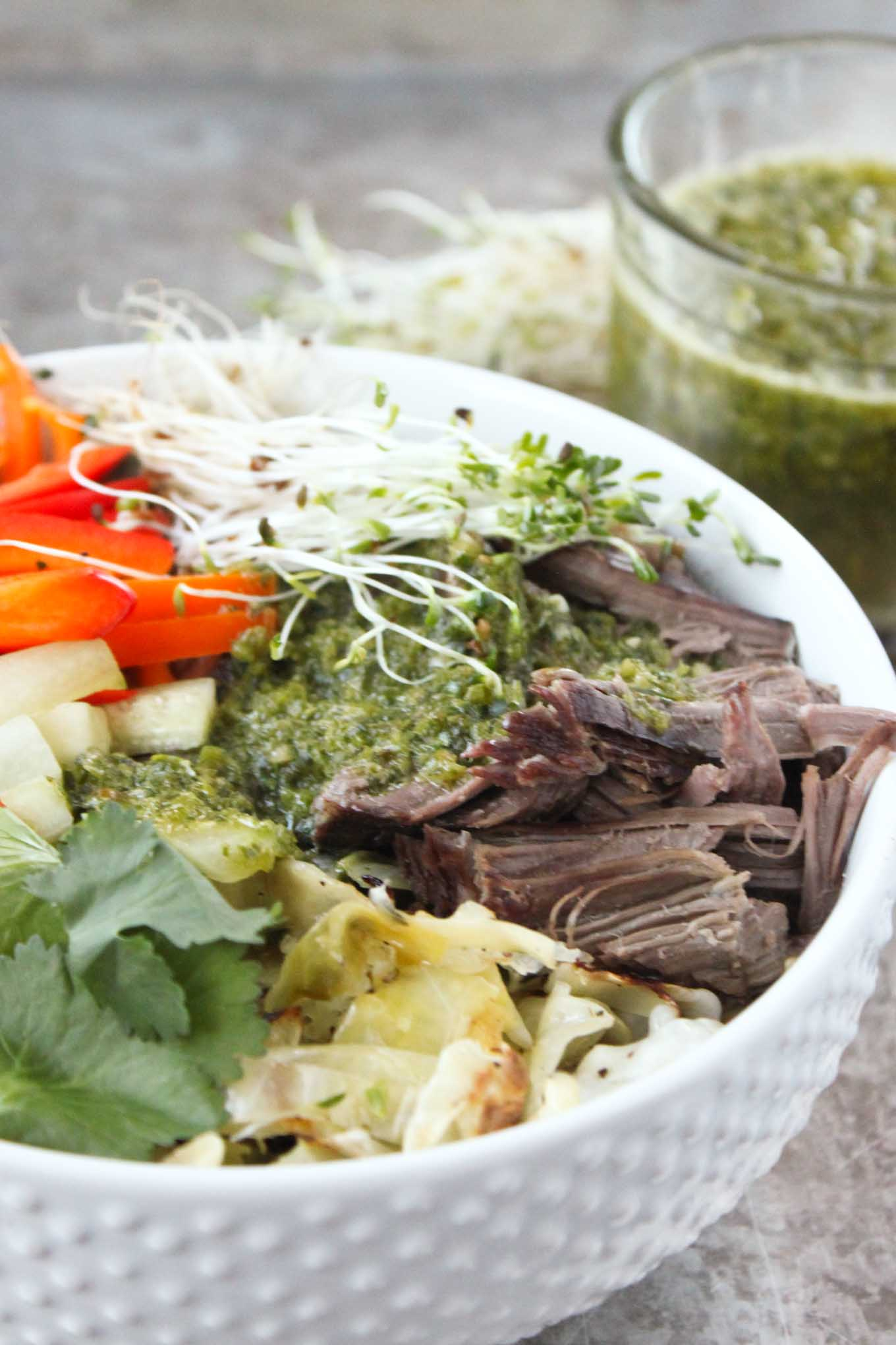Slow Cooker Vietnamese Beef with Chimichurri | simplerootswellness.com