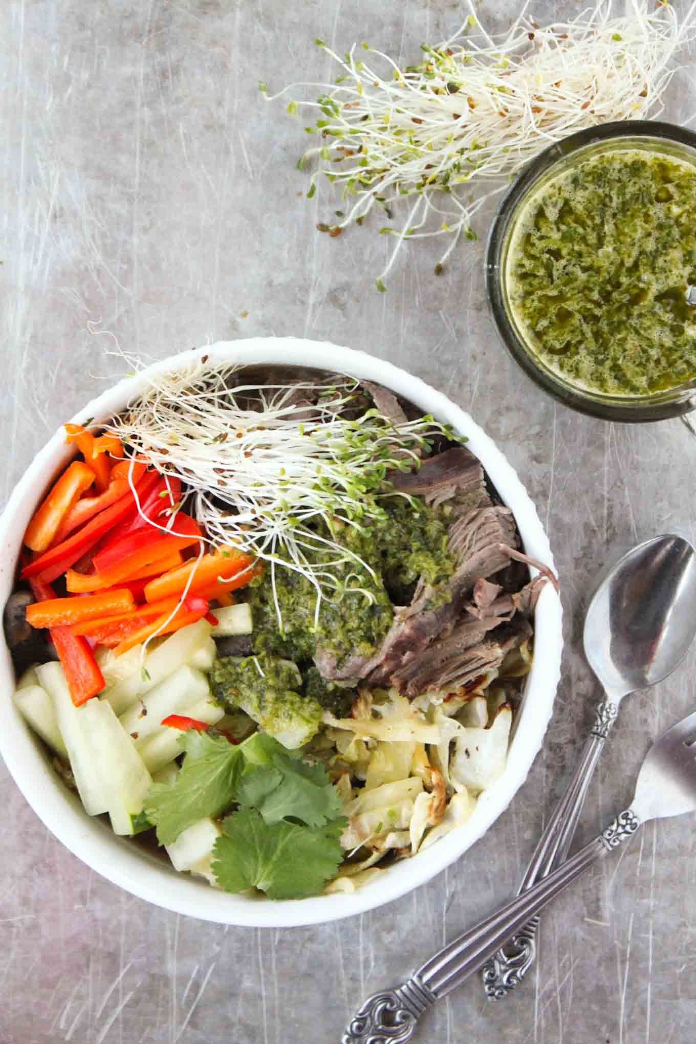 Slow Cooker Vietnamese Beef with Chimichurri - Simple Roots