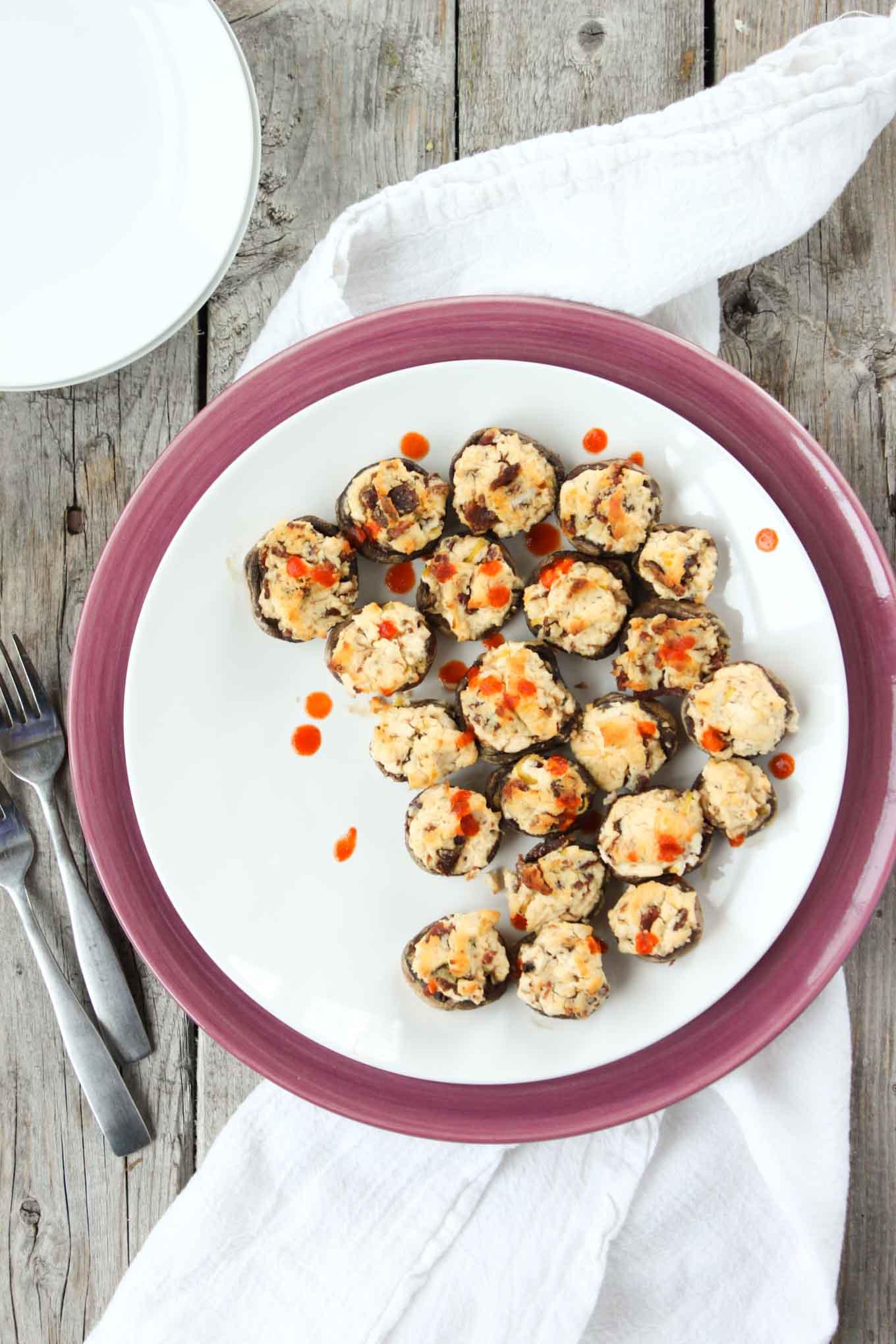 'Cheesy' Sriracha and Bacon Stuffed Mushrooms   simplerootswellness.com
