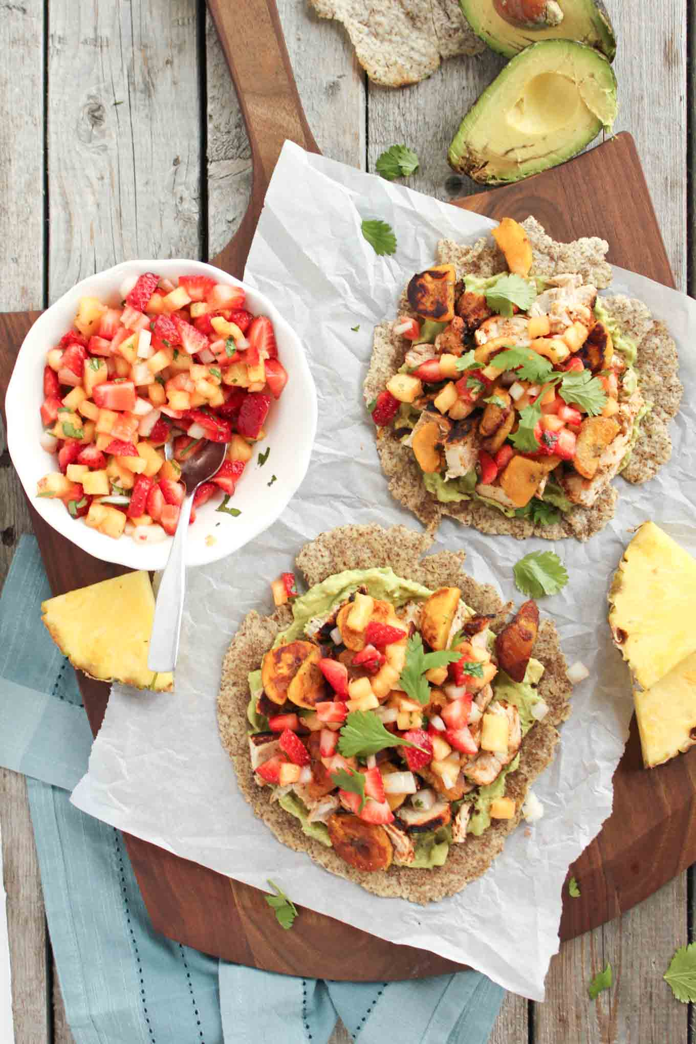 Baja Chicken Tostada with Strawberry Pineapple Salsa | simplerootswellness.com