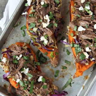Stuffed Sweet Potatoes with Short Ribs and Cabbage | simplerootswellness.com