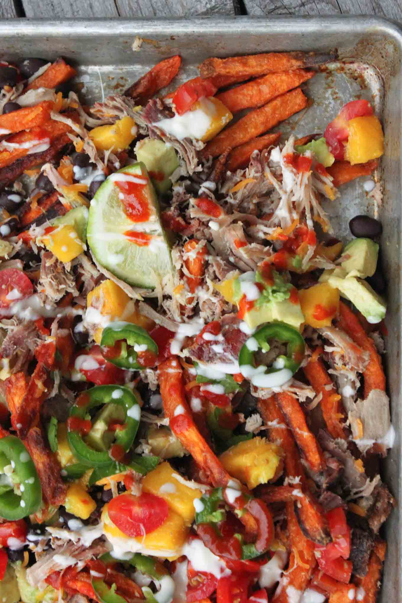 Loaded Sweet Potato Nachos with Mango Salsa | simplerootswellness.com