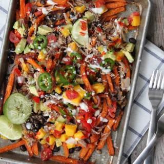Loaded Sweet Potato Nachos with Mango Salsa | simplerootswellness.com