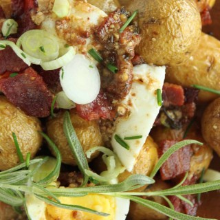 Warm Potato Salad with Bacon and Garlic Butter Sauce