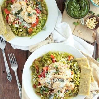 Zoodles with Spinach Kale and Basil Pesto