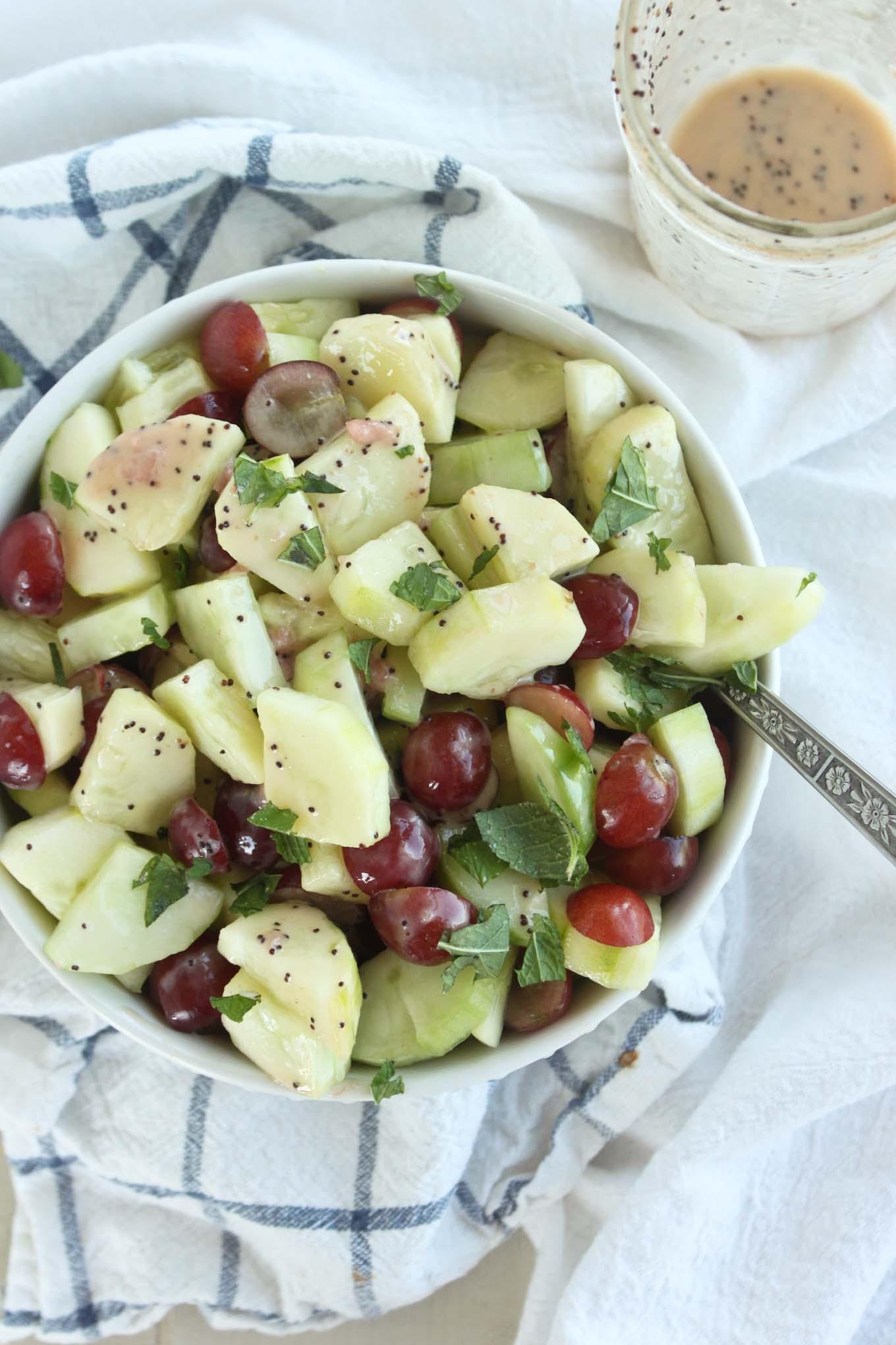 10 minute Cucumber Grape Salad with Poppyseed Dressing | simplerootswellness.com
