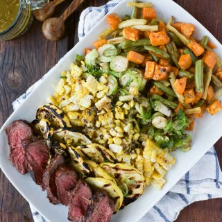 Grilled Veggie & Steak Salad with Herbed Butter Sauce