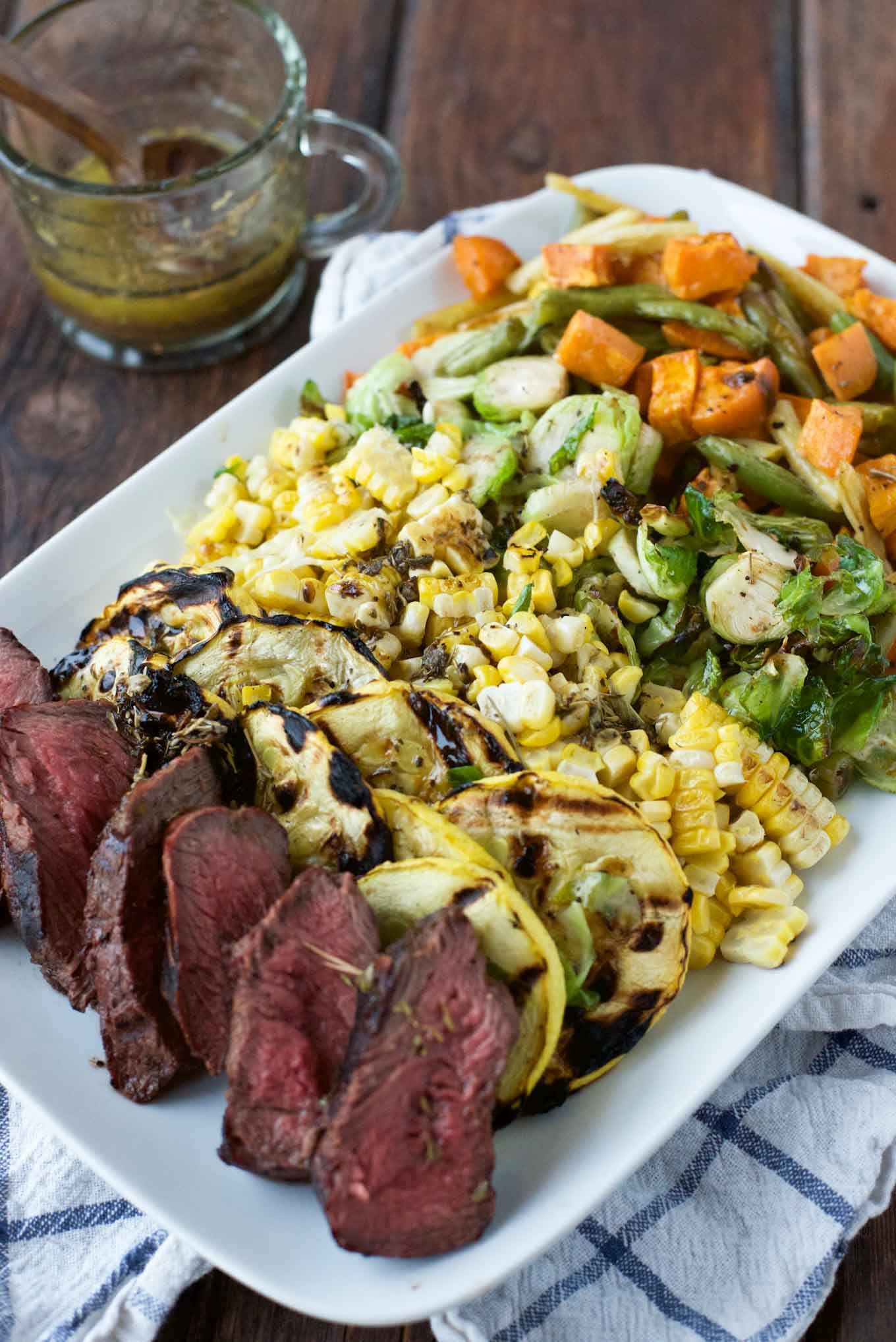 Grilled Veggie & Steak Salad with Herbed Balsamic Butter Sauce. Because everything is better with butter.
