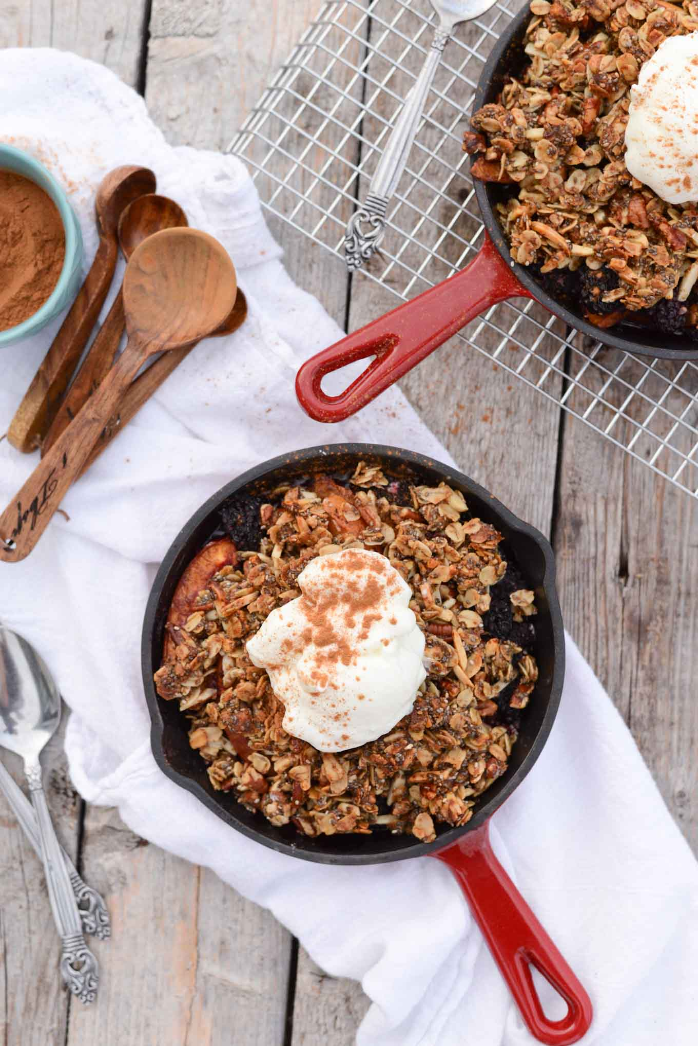 Quick Skillet Nectarine Blackberry Crisp - Simple Roots