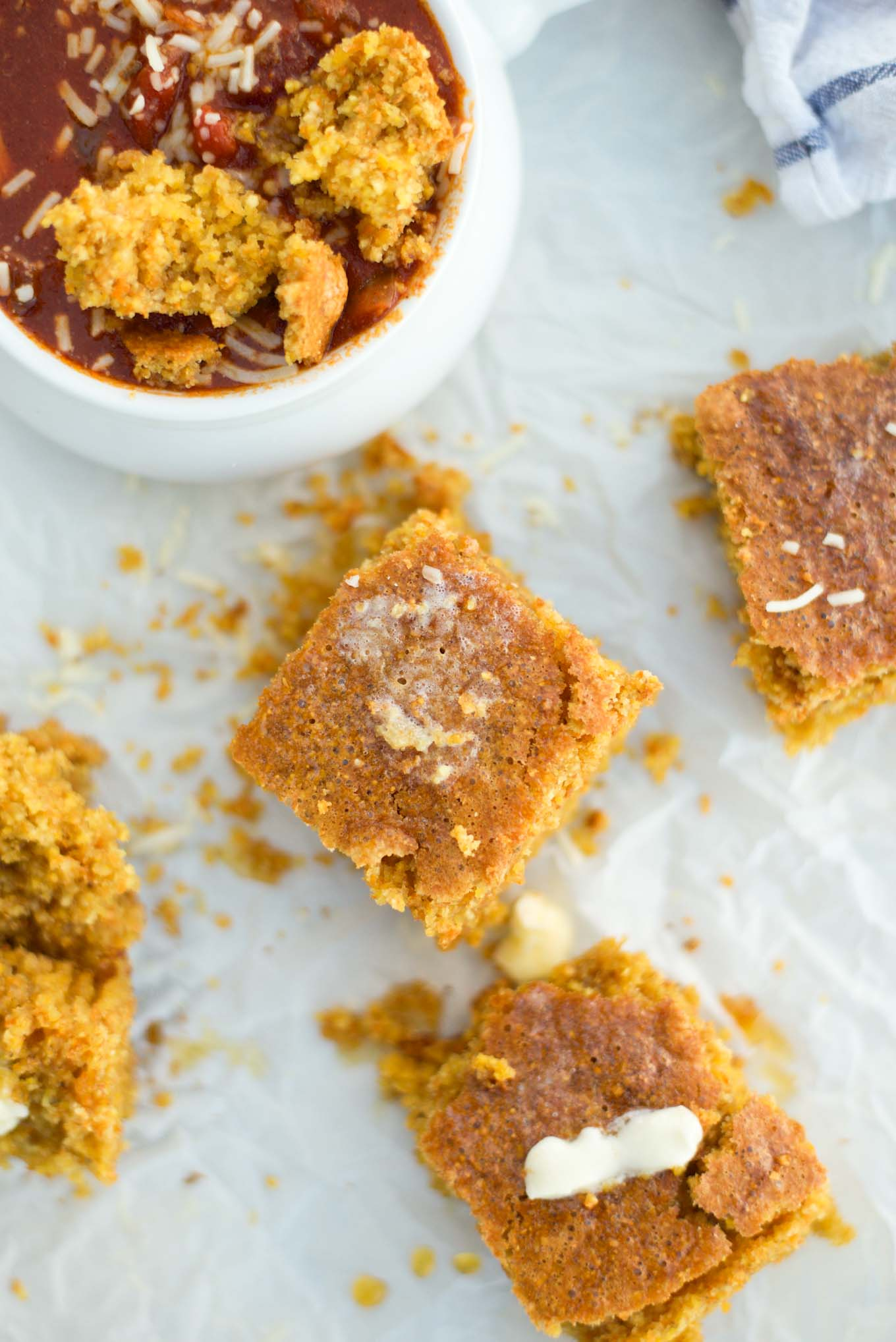 Moist crumbly gluten-free cornbread that is made in less than 10 minutes and in one bowl.