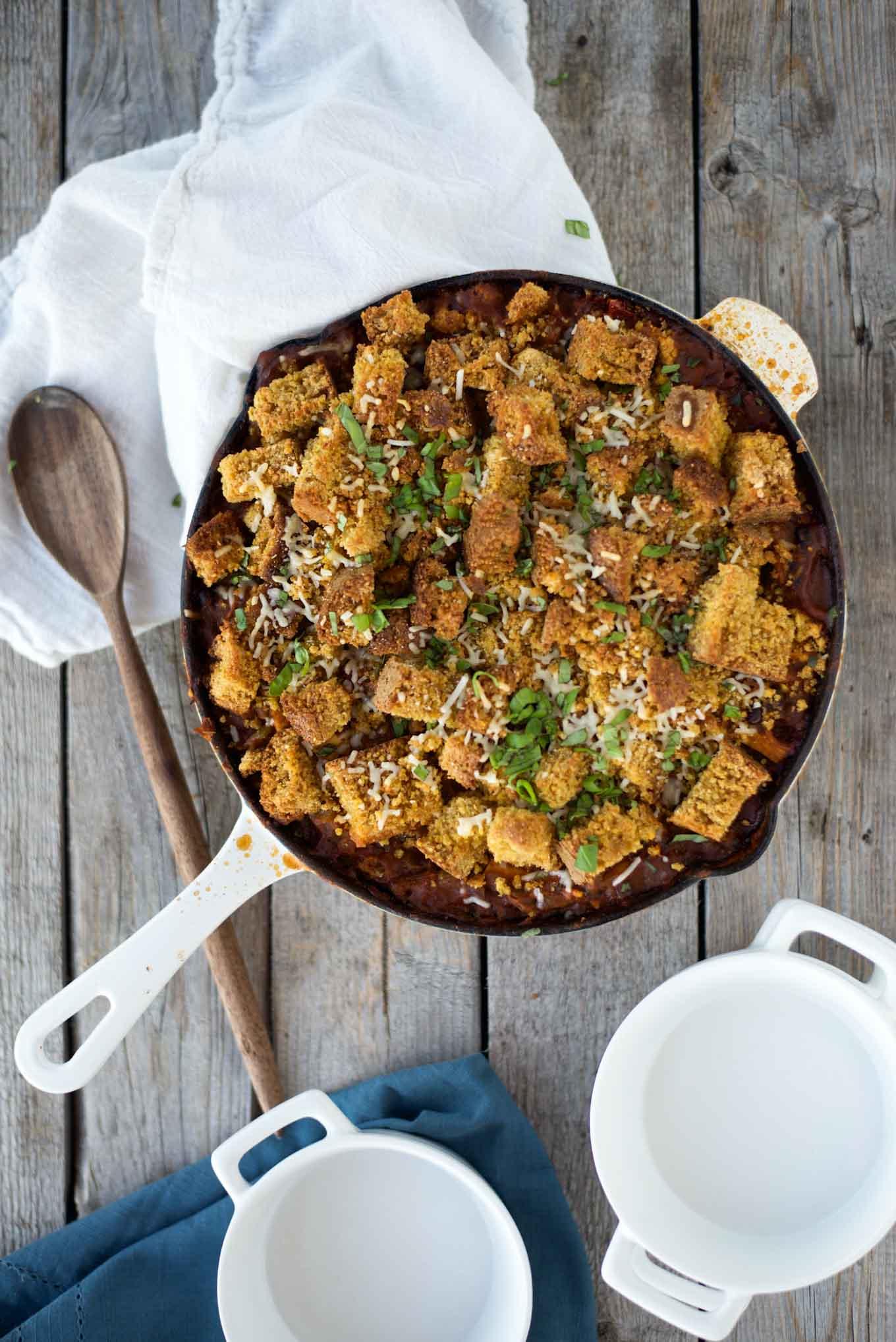 One pot 30 minute Pumpkin Chili Cornbread Casserole