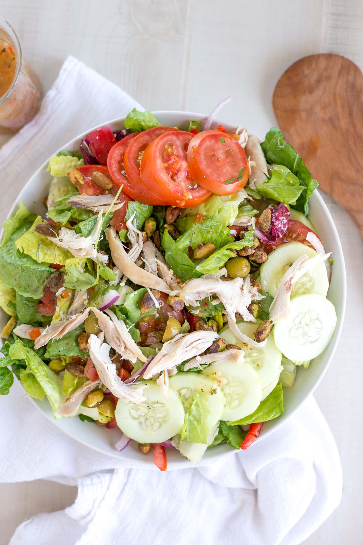 The most delicious salad you'll ever eat that takes 10 minutes to prep. Quick Italian Salad with Shredded Chicken