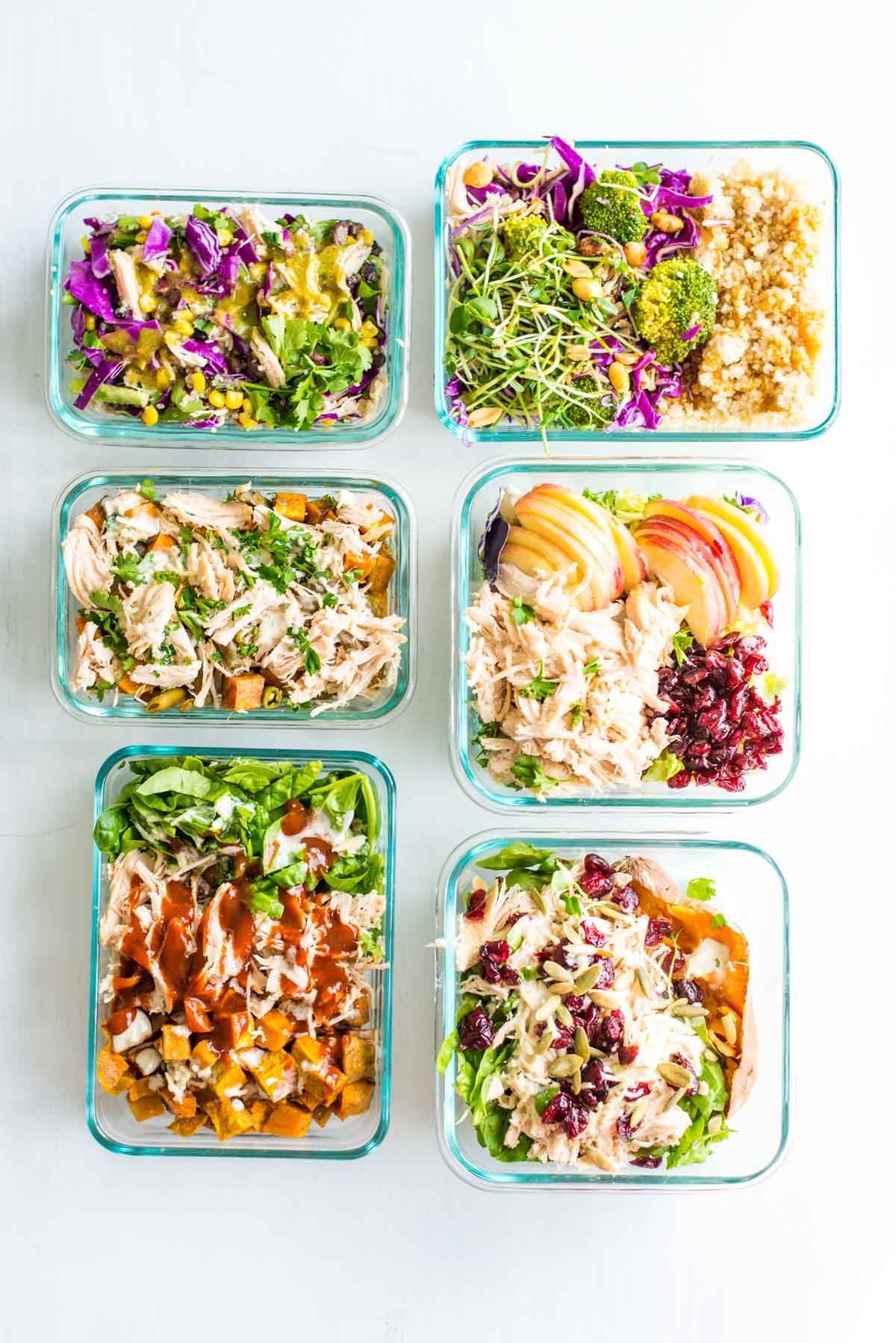 One base turned into six meals. This is how you do shredded chicken six ways.