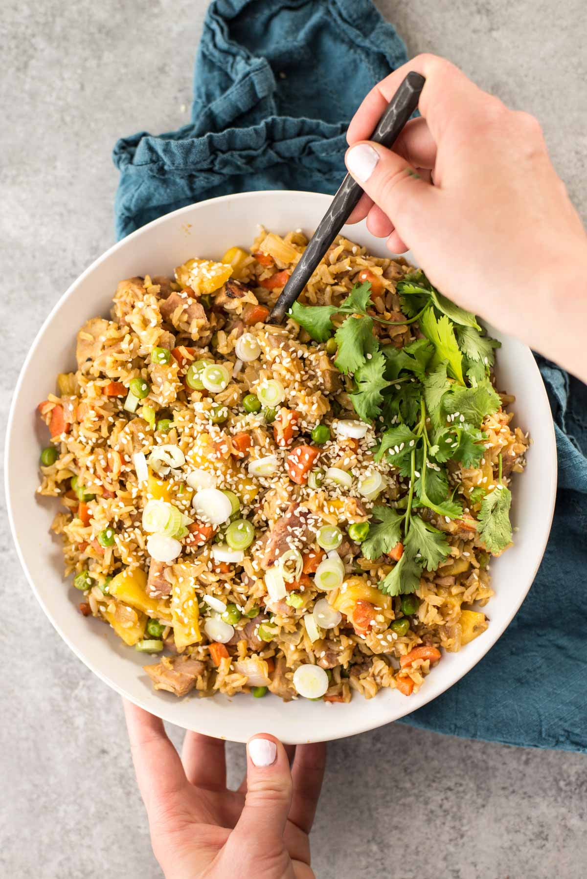 This 20 minute easy fried rice combines the natural sweetness of pineapple with the juices of ham to make a delicious take on fried rice.