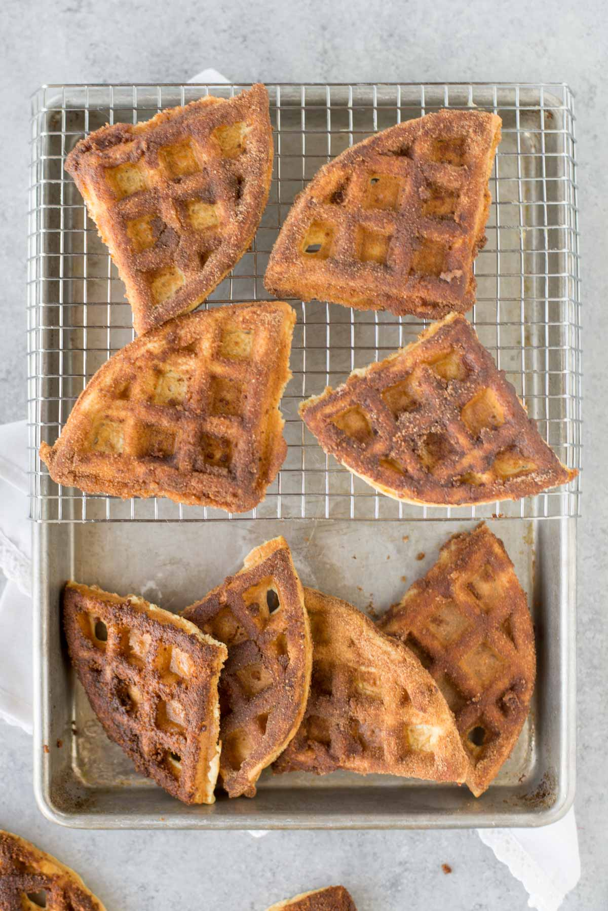 The quick blender protein waffles make the perfect breakfast and spice them up with cinnamon and sugar.