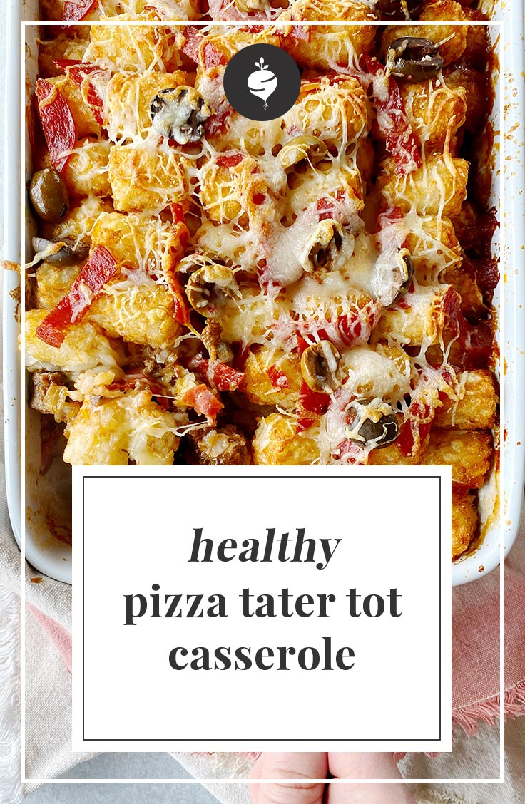Healthy Pizza Tater Tot Casserole | simplerootswellness.com #podcast #healthylife #healthy #lifestyle #dinnerideas #recipe #healthyrecipe